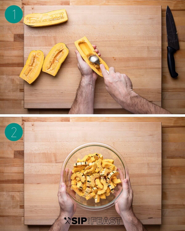 Delicata squash pasta recipe process shot collage group number one.