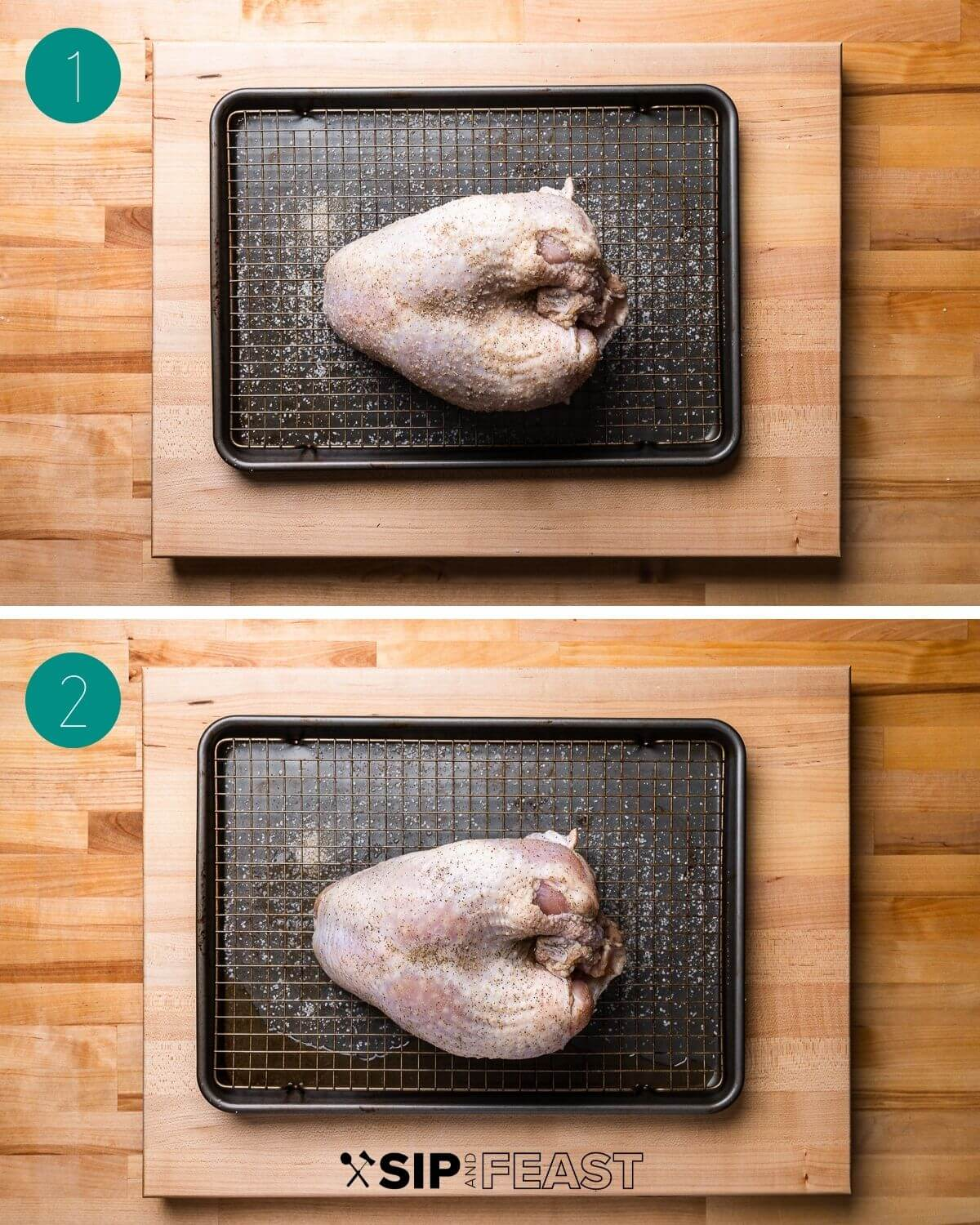 Dry brined turkey breast recipe process shot collage group number one.