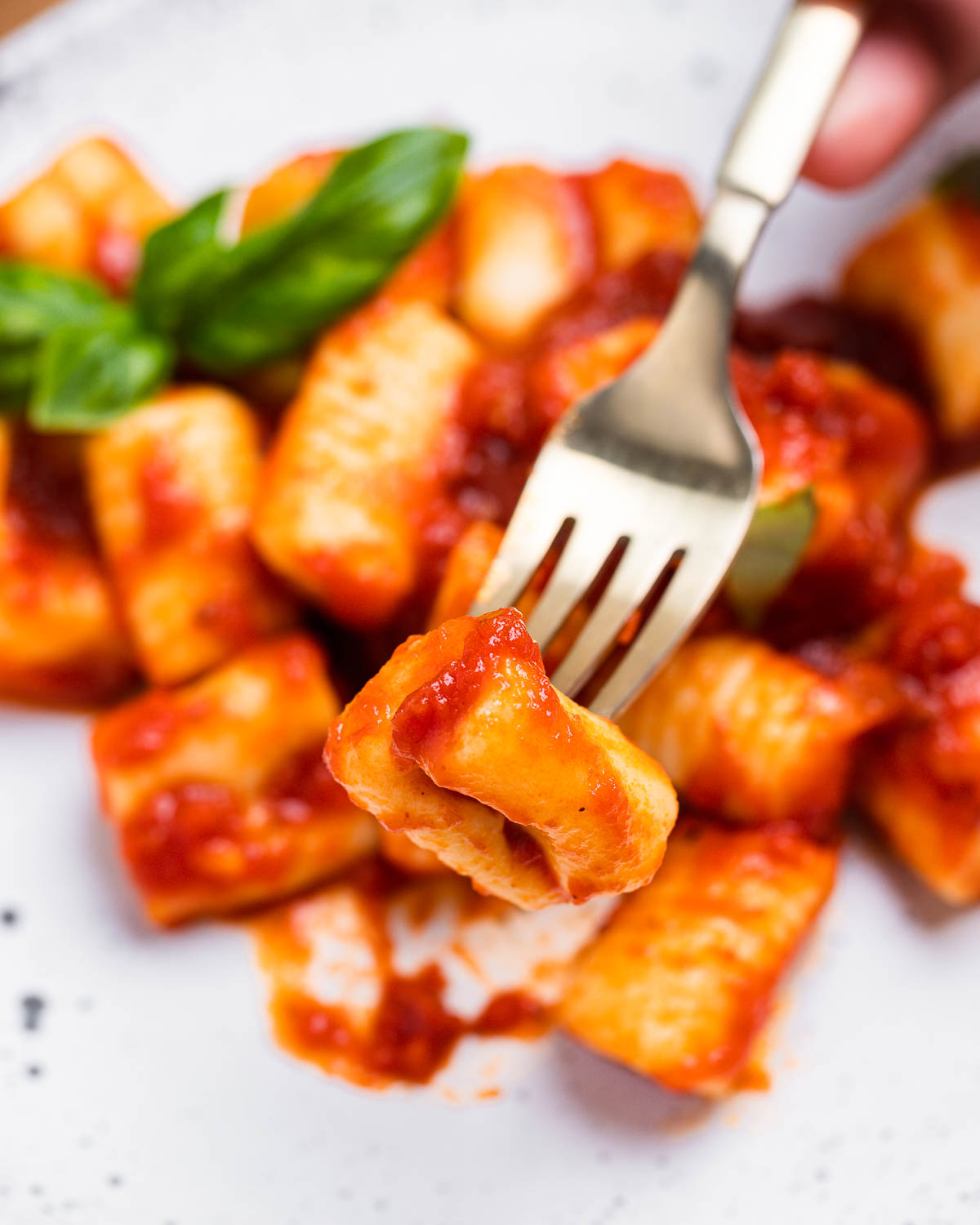 Fork holding one piece of potato gnocchi in tomato sauce.