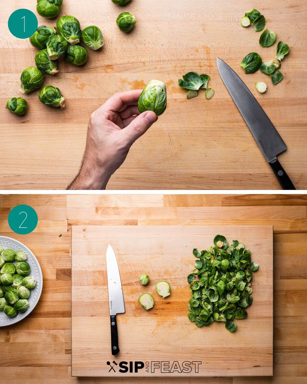 Honey balsamic brussels sprouts recipe process shot collage group number one.
