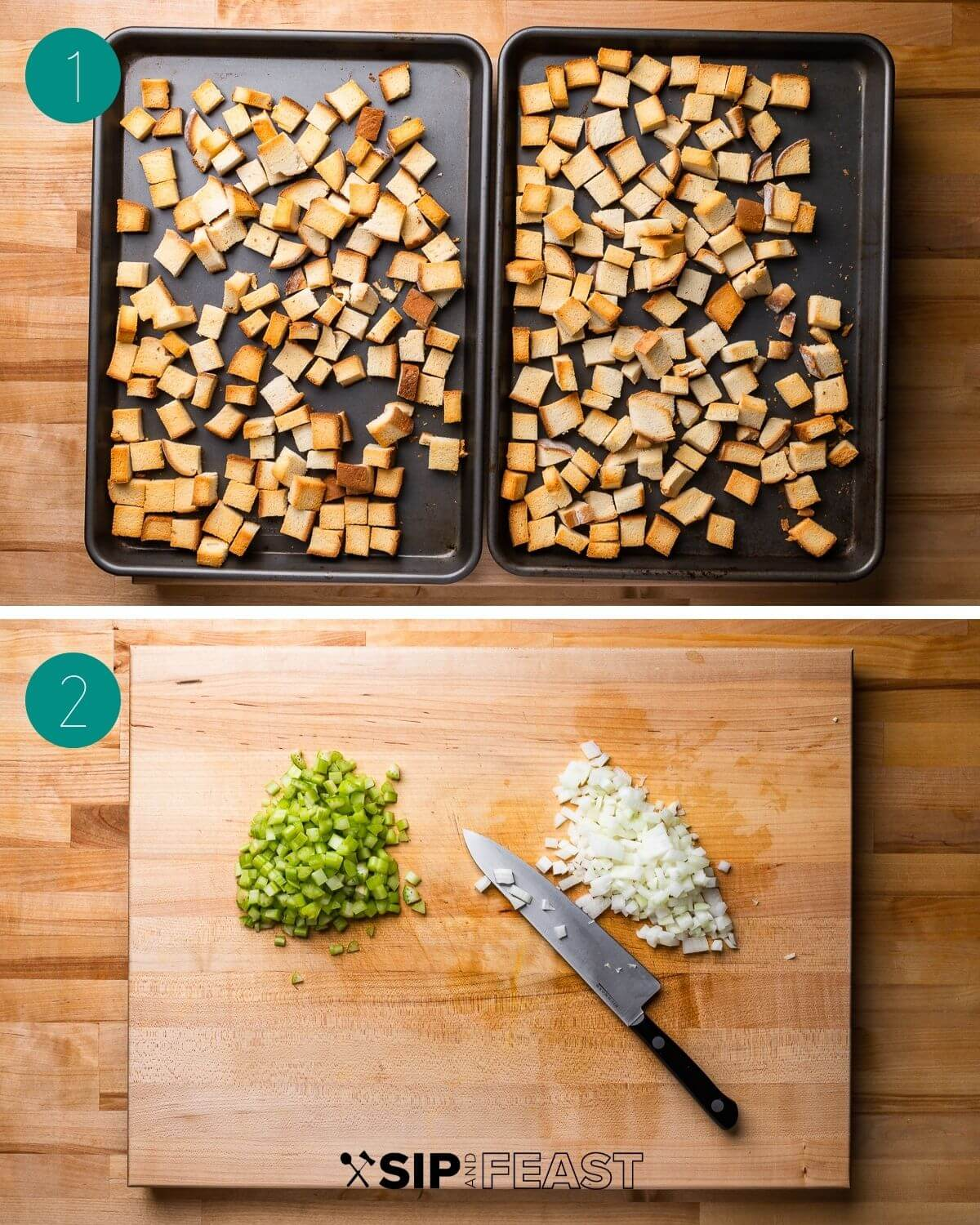 Italian sausage stuffing with parmesan recipe process shot collage group number one.