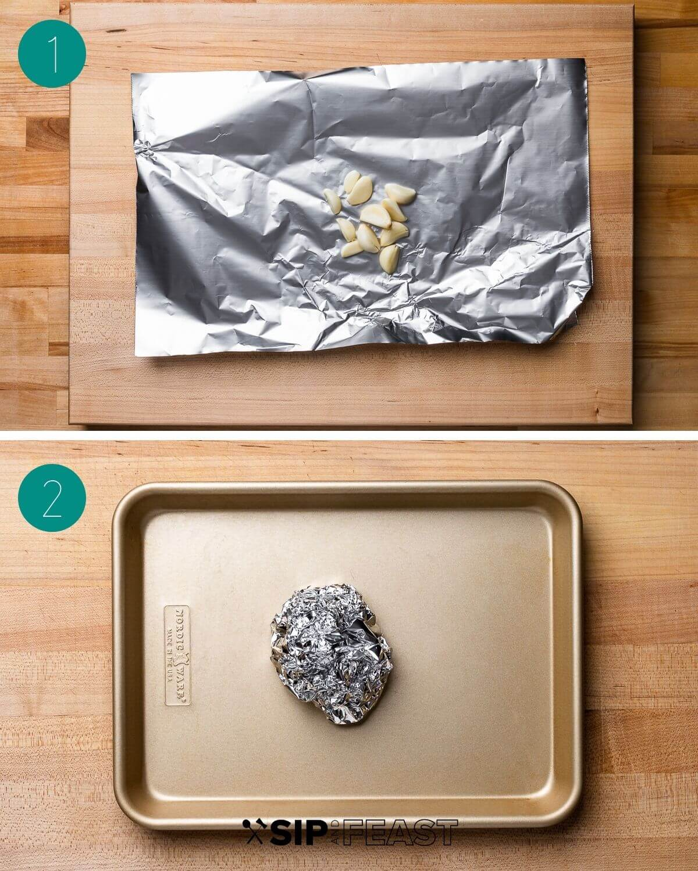 Roasted garlic mashed potatoes recipe process shot collage group number one.