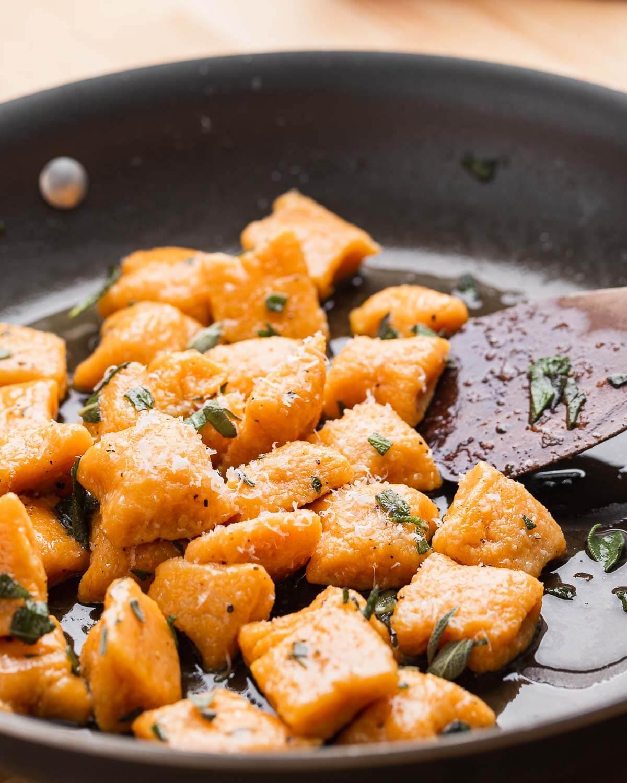 Large pan with sweet potato gnocchi.