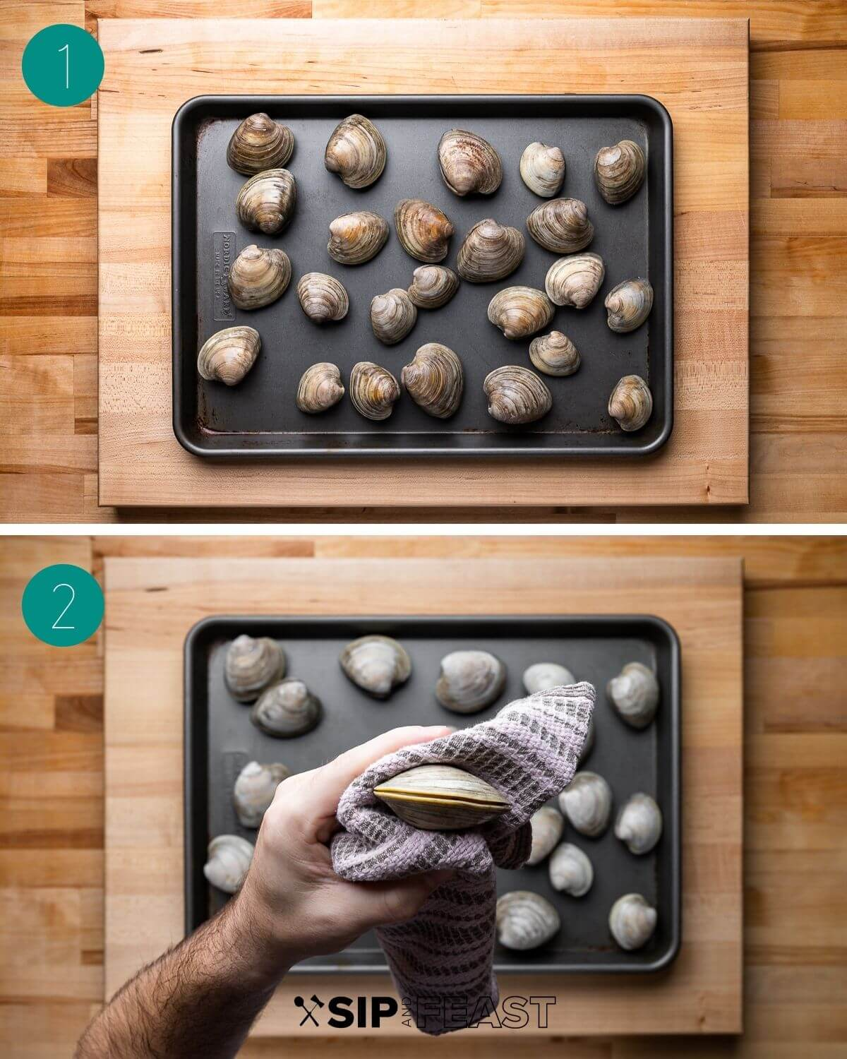 Clams oreganata recipe process shot collage group number one.