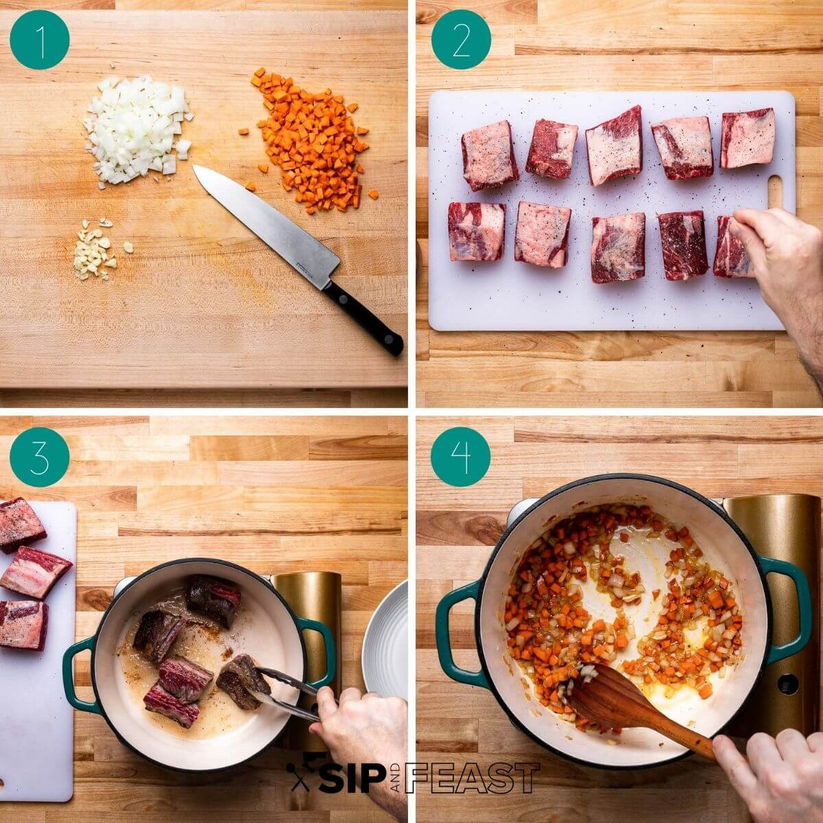 Short rib pappardelle ragu recipe process shot collage group number one.